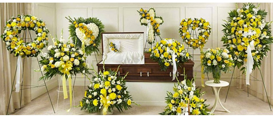 Yellow sympathy and funeral flower arrangements profuneralflowers com