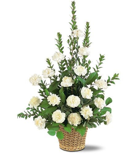 White Simplicity Funeral Basket