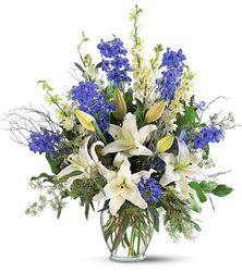 Blue Flower Arrangement For Sympathy And Funeral Profuneralflowers Com