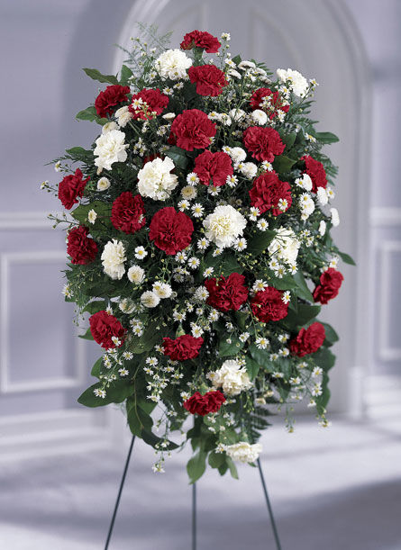 Red and White Local Funeral Standing Flowers